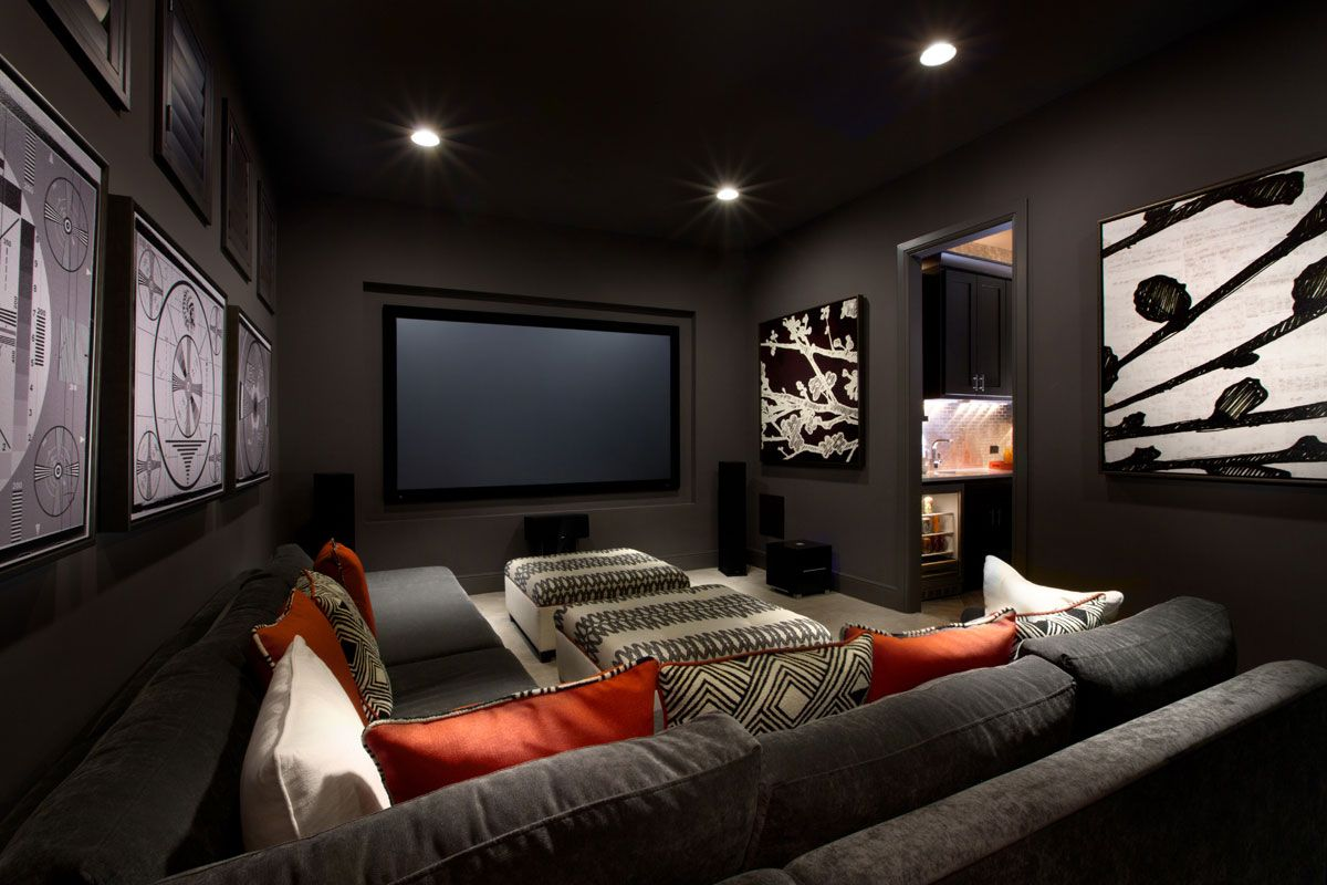 Media Room Ideas Using Minimalist Modern Interior Design With Grey Fabric Sofa And Ceiling Light