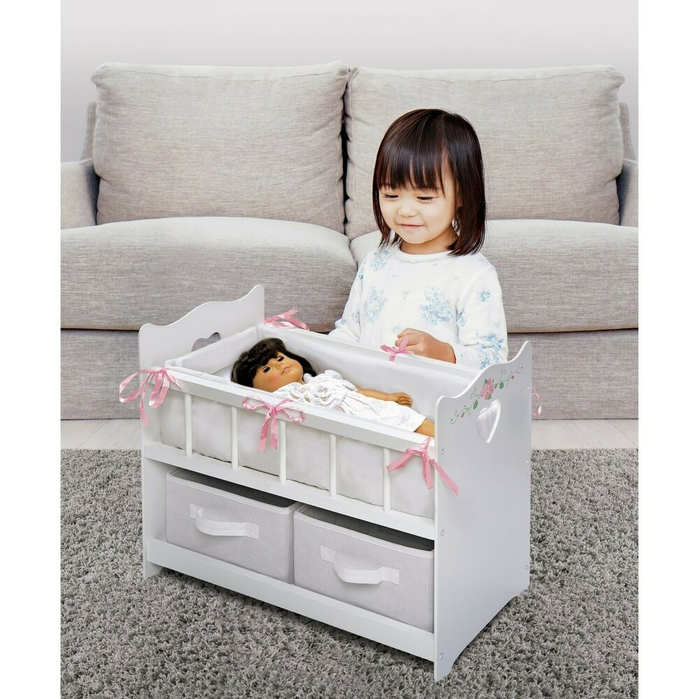 Badger Basket Girls Two Basket Doll Crib fits American Girl dolls Gray//White