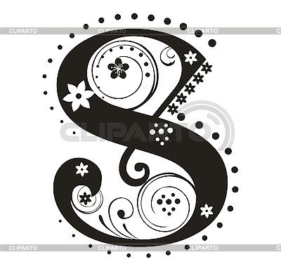 decorative letter s with flowers for design stock vector graphics id 3077340
