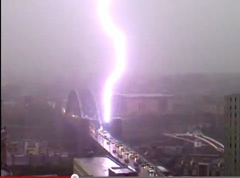 Tyne Bridge, Newcastle hit by lightning on 28 June 2012
