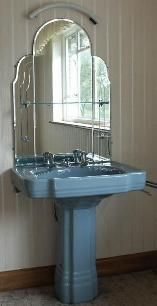 This Is Great For Those Old Dressingtable Mirrors.....Art Deco Bathrooms    Blue, Geometric Pedestal Sink