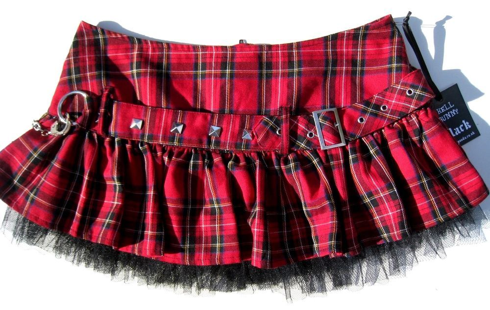 c2a1a2f451312 Hell Bunny Sexy Schoolgirl Skirt Handcuffs Hot Topic Punk Goth Red Black  Plaid M  HellBunny  Pleated