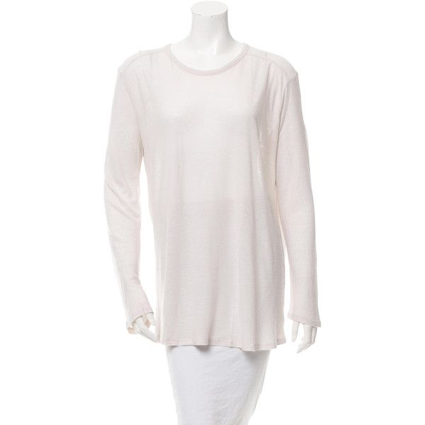 Pre-owned T by Alexander Wang Distressed Long Sleeve Top ($50) ❤ liked on Polyvore featuring tops, neutrals, white scoop neck top, t by alexander wang, white top, white long sleeve top and ripped tops