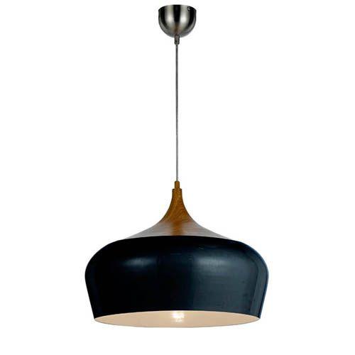 Contemporary 'Polk' pendant light in matt black metal and ...
