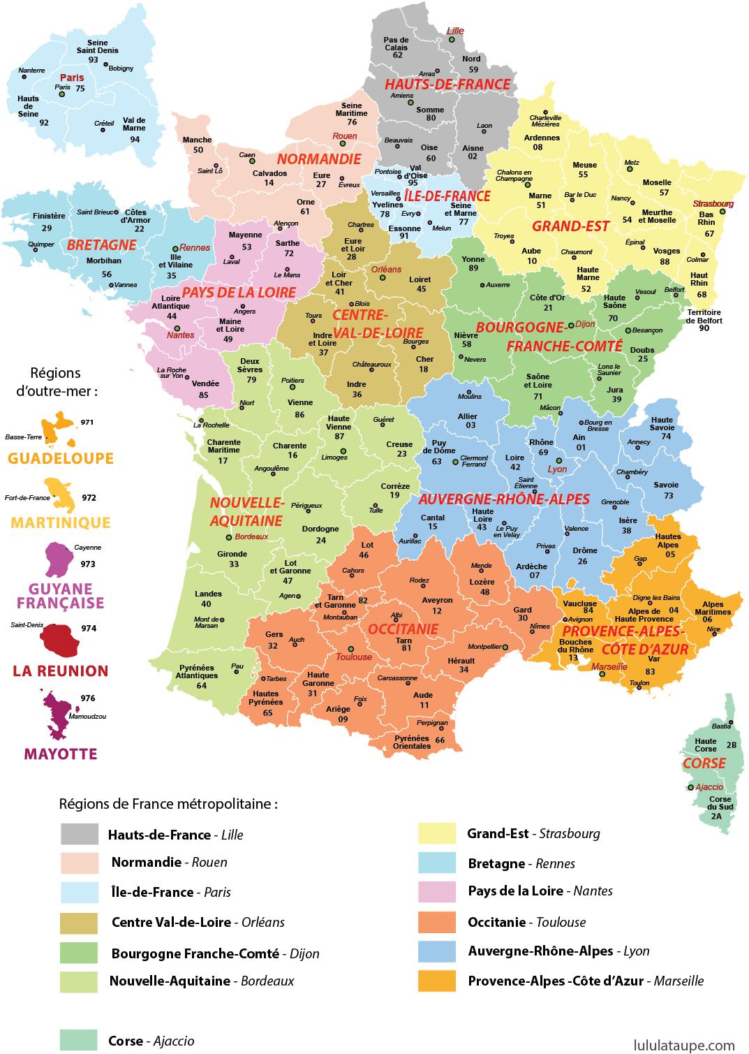 carte de france à imprimer format a4 Carte des nouvelles régions de France (avec images) | Les régions