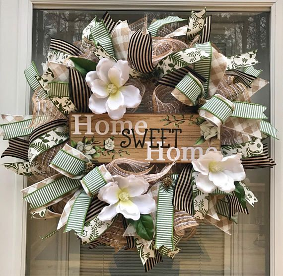 Merveilleux Magnolia Wreath, Burlap Wreath, Home Sweet Home Wreath, Front Door Wreath,  Everyday Wreath, Door Decor | Wreaths, Magnolia Wreath And Front Doors