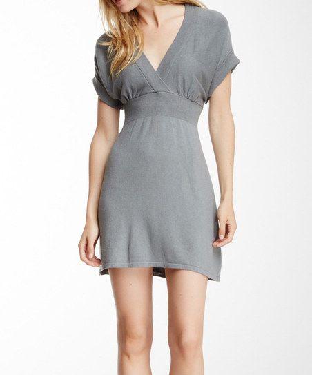 Gray Surplice Dress