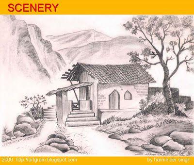SCENERY ART GRAM Beautiful Pencil Drawings Of Scenery ...