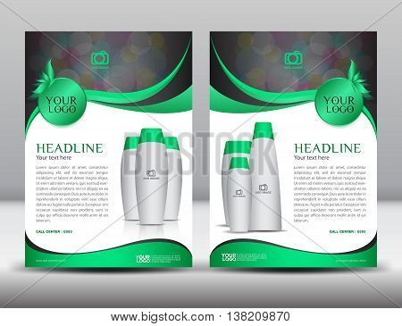 Green business brochure flyer design layout template in A4 size - advertisement brochure