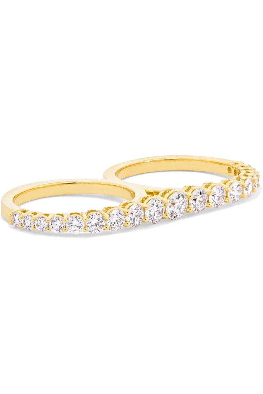 Aria 18 Carats Bague En Diamant D'or À Deux Doigts - 6 Melissa Kaye nC5a0xnfge
