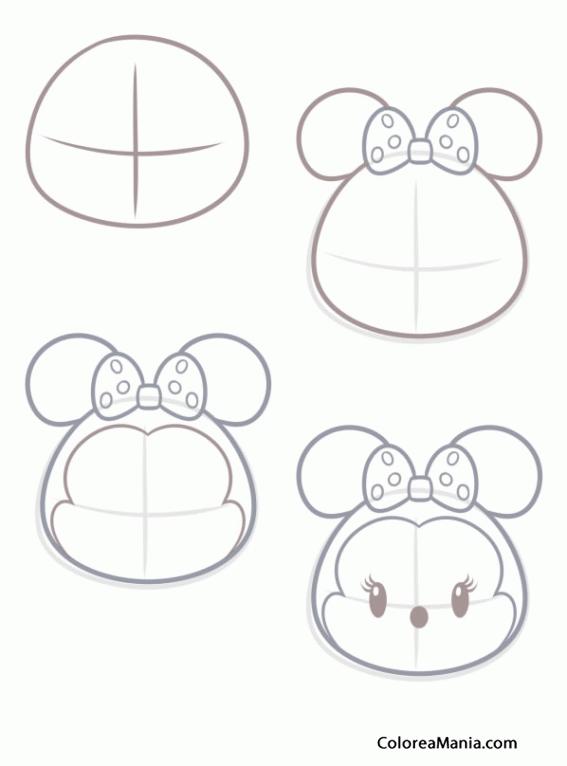 como dibujar tsum tsum   Colorear Como dibujar Tsum Tsum Minnie ...