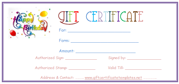 Simple balloons birthday gift certificate template for Free customizable gift certificate template