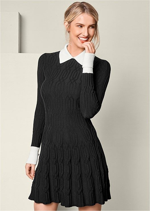 8adcc99be Venus Women s Collar Detail Sweater Dress - Black white