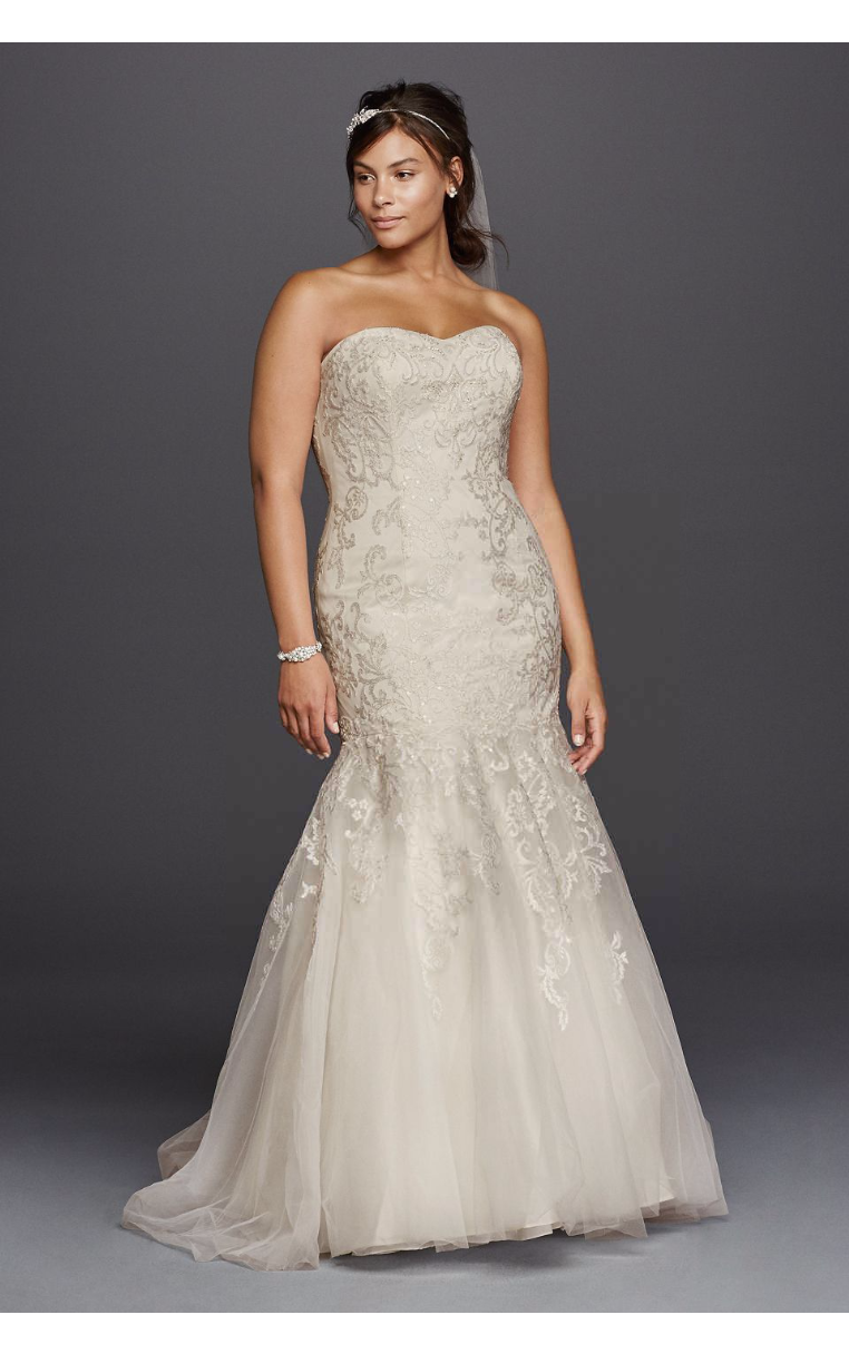 Strapless Long Trumpt Lace Embroidered Sweetheart Neckline Wedding Dress 4XL9WG3800 Plus Size