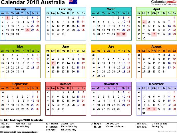 2018 calendar australia