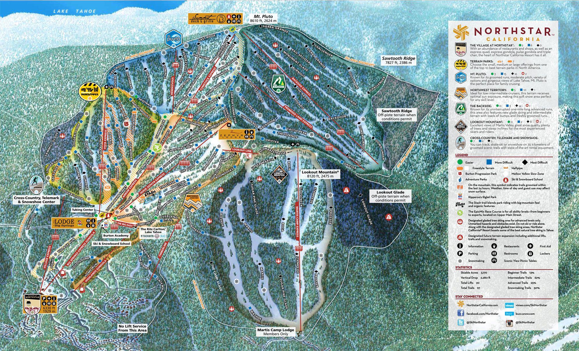 northstar lake tahoe map Northstar California Resort Tahoe Ski Resorts California northstar lake tahoe map