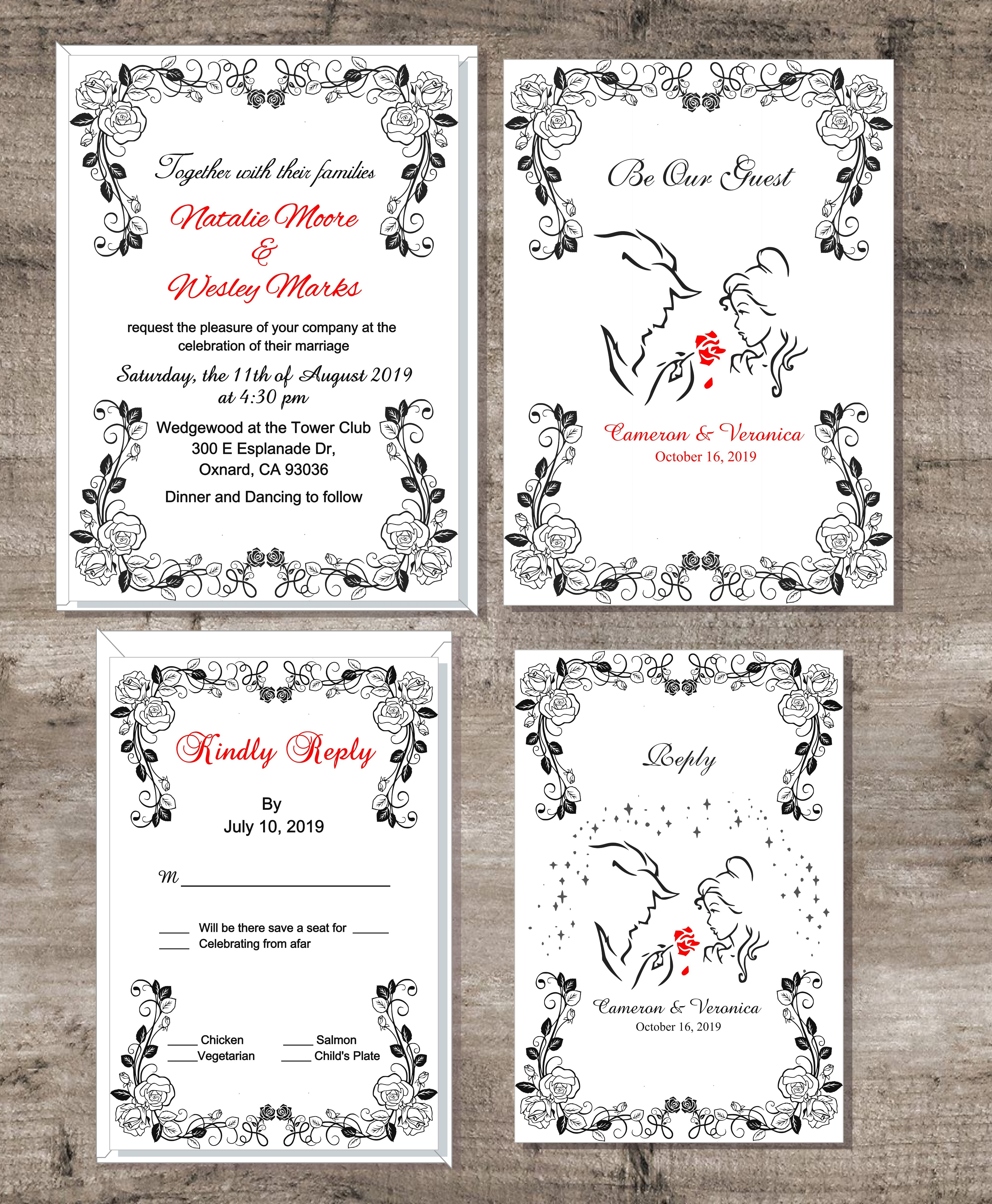 Printable Beauty The Beast Invitations Perfect For Your H
