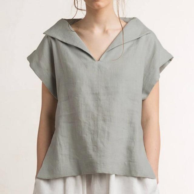 990762417f059 Women Vintage Linen Blouses V Neck Short Sleeve Shirts Casual Loose ...