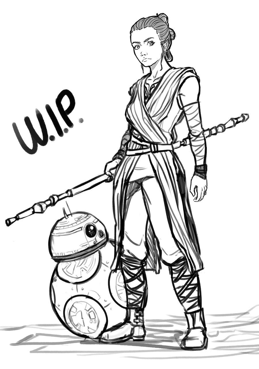 Star wars rey and bb 8 wip by exploom lineart star for Bb8 coloring page
