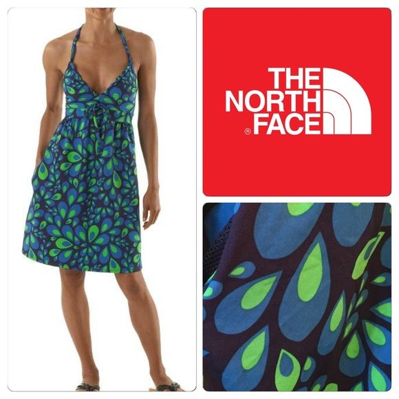 """♣️ The North Face Halter Dress Gorgeous The North Face Halter Dress. Adjustable halter straps by the bow on the chest, empire waist, lined top - side zip pocket. New condition showing no signs of wear or flaws. 82% nylon 18% elastane  All items are from a clean, smoke free home  We ❤️ offers but will only be considered by using the """"OFFER"""" option  Trades  Modeling The North Face Dresses"""