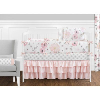 Sweet Jojo Designs Watercolor Floral 9 Piece Crib Bedding Set