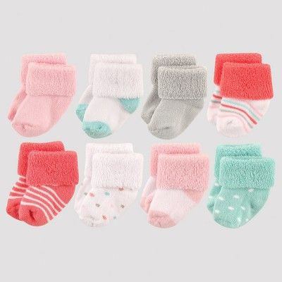 Luvable Friends Baby Girls 8 Pack Newborn Socks