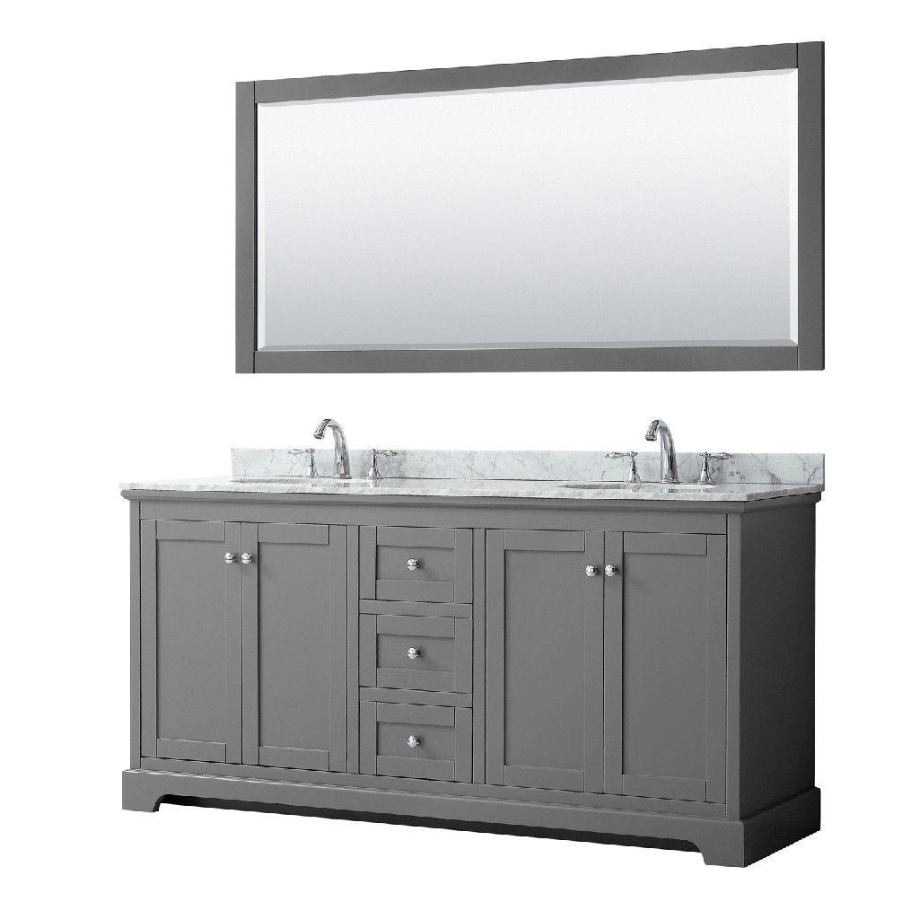 72 Inch Double Bathroom Vanity In Dark Gray White Carrara Marble Countertop Undermount Oval In 2021 Marble Vanity Tops Vanity Set With Mirror Double Bathroom Vanity
