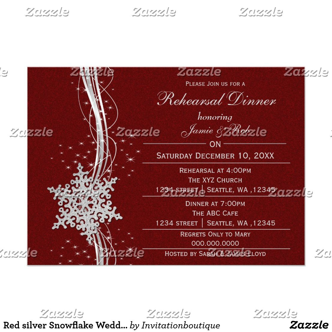 Red silver Snowflake Wedding Rehearsal Invites Red silver Snowflakes ...