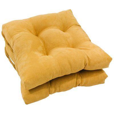 Blazing Needles Dining Chair Cushion Color: Lemon