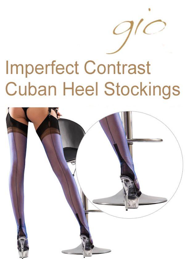 Gio Fully Fashioned Stockings Back Seam  Contrast Cuban Heel Nylons Hosiery RHT