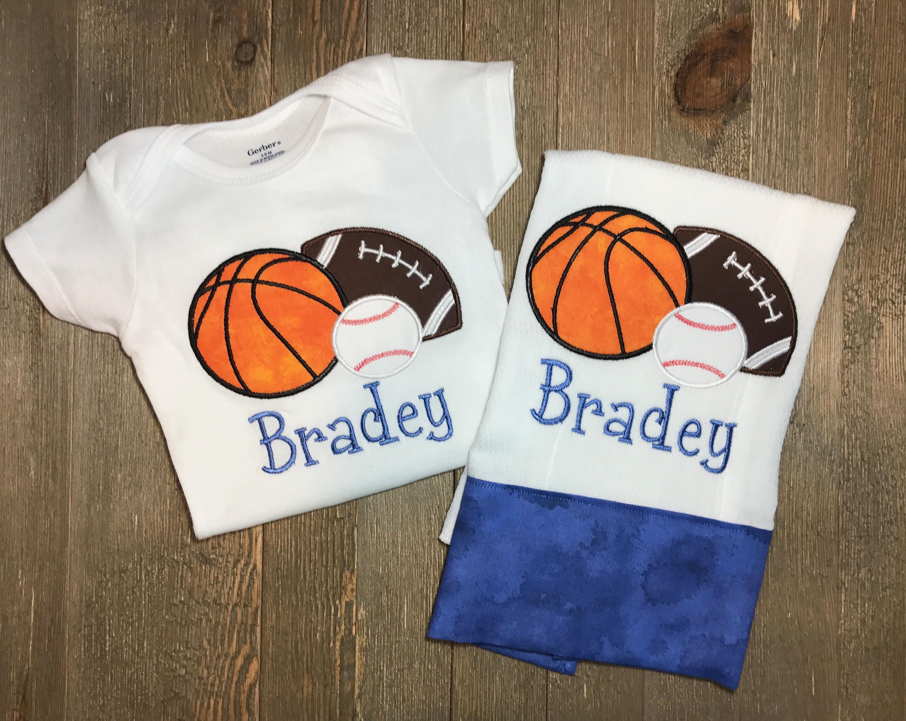 Personalized sport onesie and burp cloth set custom sports onesie personalized sport onesie and burp cloth set custom sports onesie and burp cloth set football giftburp cloth setbasketballnetball negle Gallery