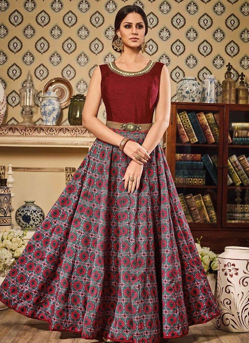 4caa37144d Shop Online Maroon Multi Colour Art Silk #LongLengthSalwarSuit ...