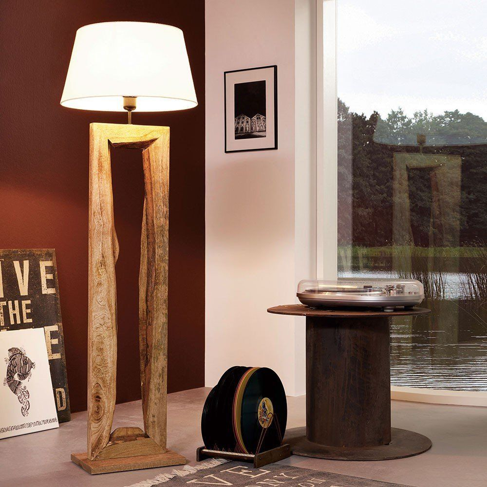 Licht Trend Timber Stehleuchte Mit Holzfuss H126 Cm Braun Holz