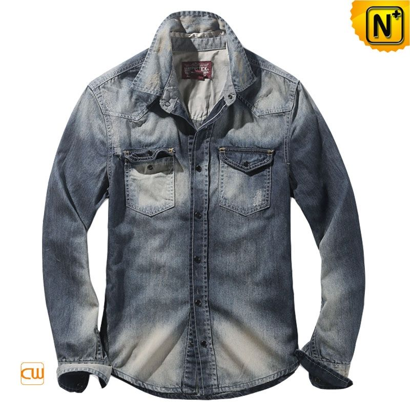 5f95d06b40b Mens Fitted Acid Wash Denim Shirt CW114312 Our nature blue fitted Acid wash  denim shirt for men with classic style