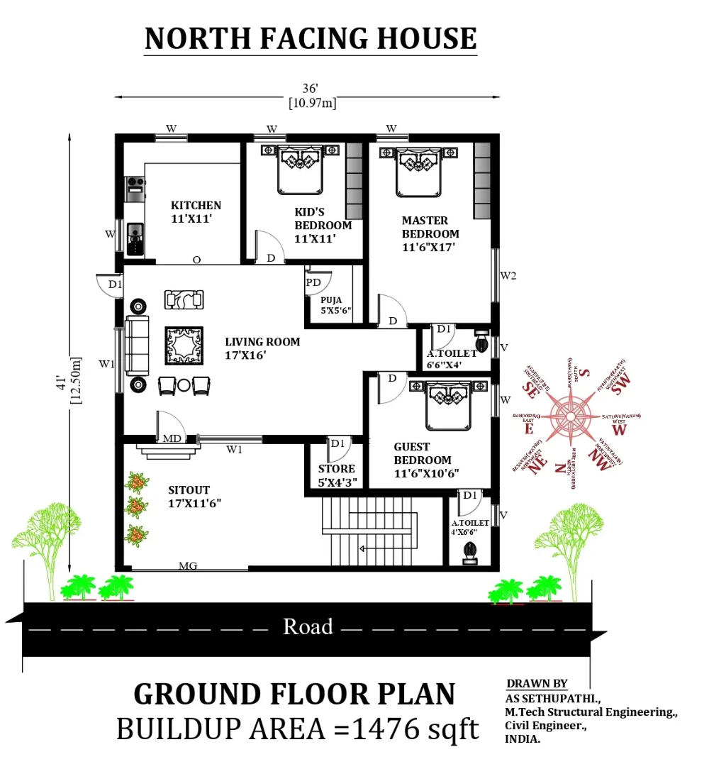 36 X41 Wonderful North Facing 3bhk Furniture House Plan As Per Vastu Shastra Download Now Cadbull Cadbul North Facing House West Facing House House Plans