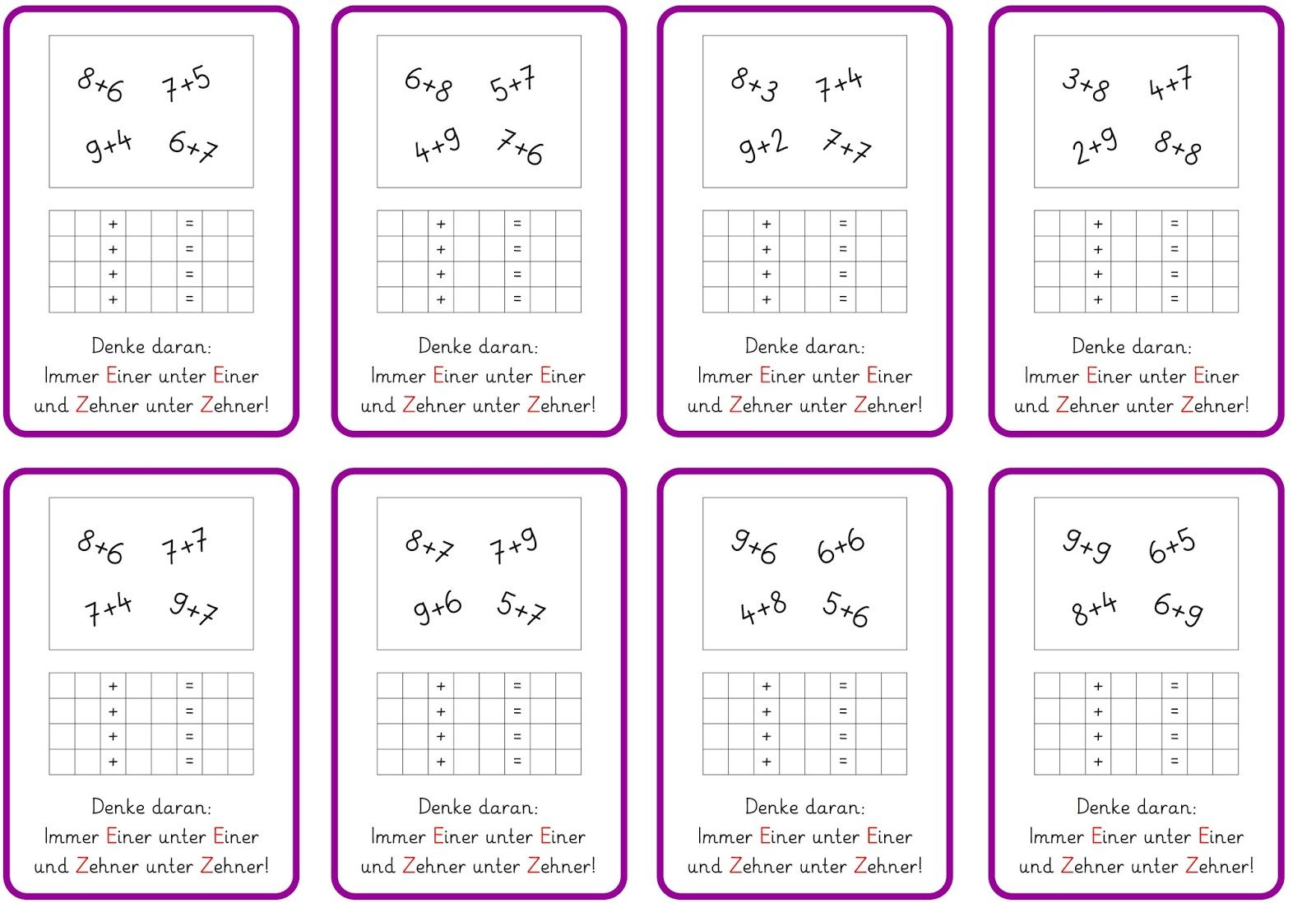 hier noch einmal ein paar Aufgabenkärtchen   für den Hefteintrag und Kinder,   die zusätzliches Futter gebrauchen können...     LG Gille ...