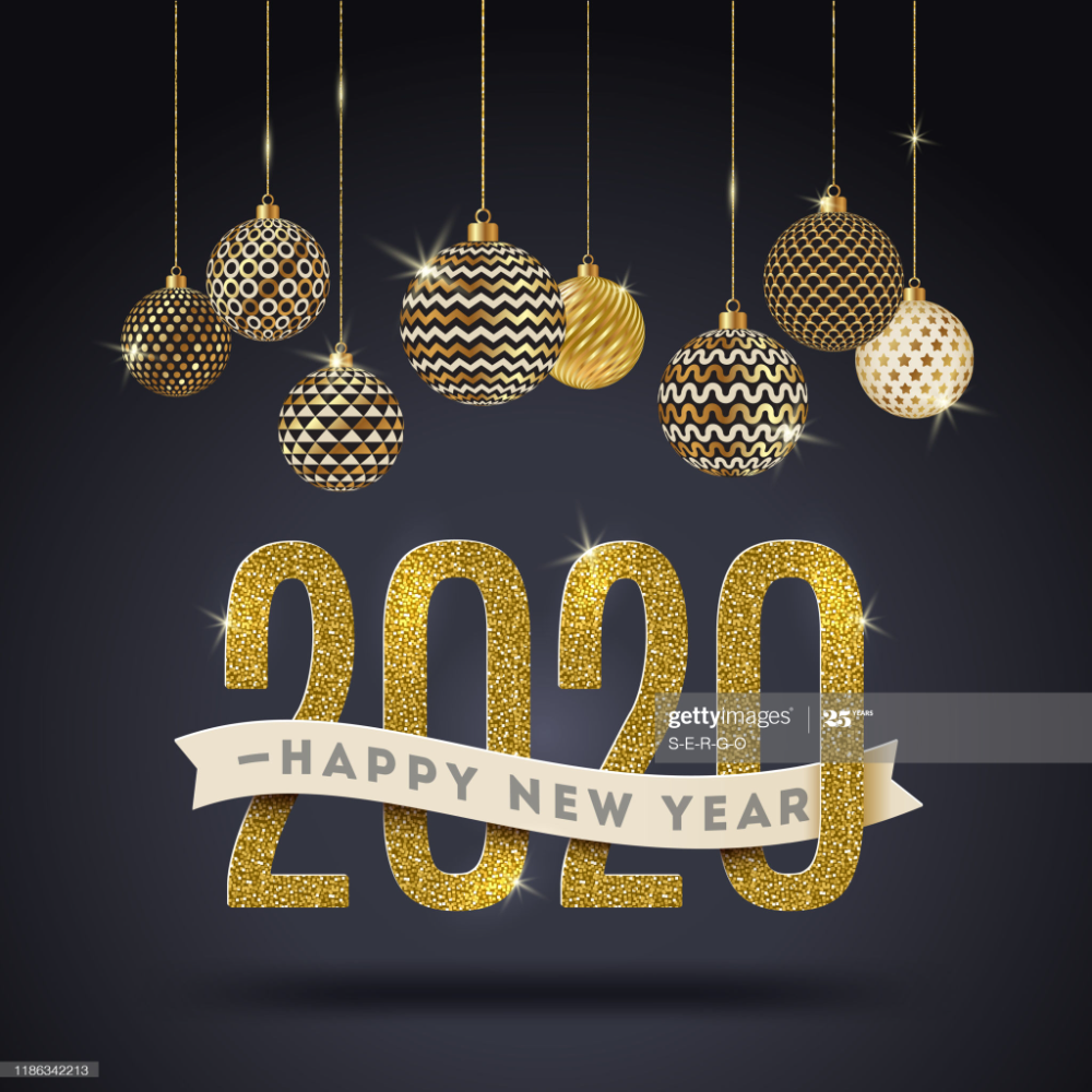 Happy New Year 2020 Holidays Vector Illustration Glitter Gold Holiday Vectors Merry Christmas Card Greetings Holiday Illustrations