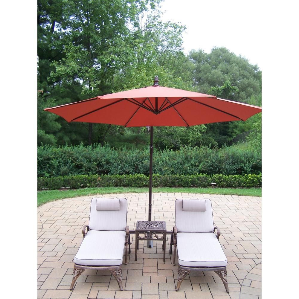 4 Piece Aluminum Outdoor Chaise Lounge Set With Tan Cushions And Burnt Orange Umbrella Patio Chaise Lounge Oakland Living Patio Chaise