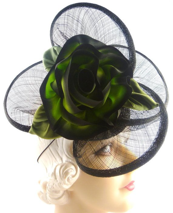 Green and Black Silk Flower on Woven Straw Circles by HatArtists
