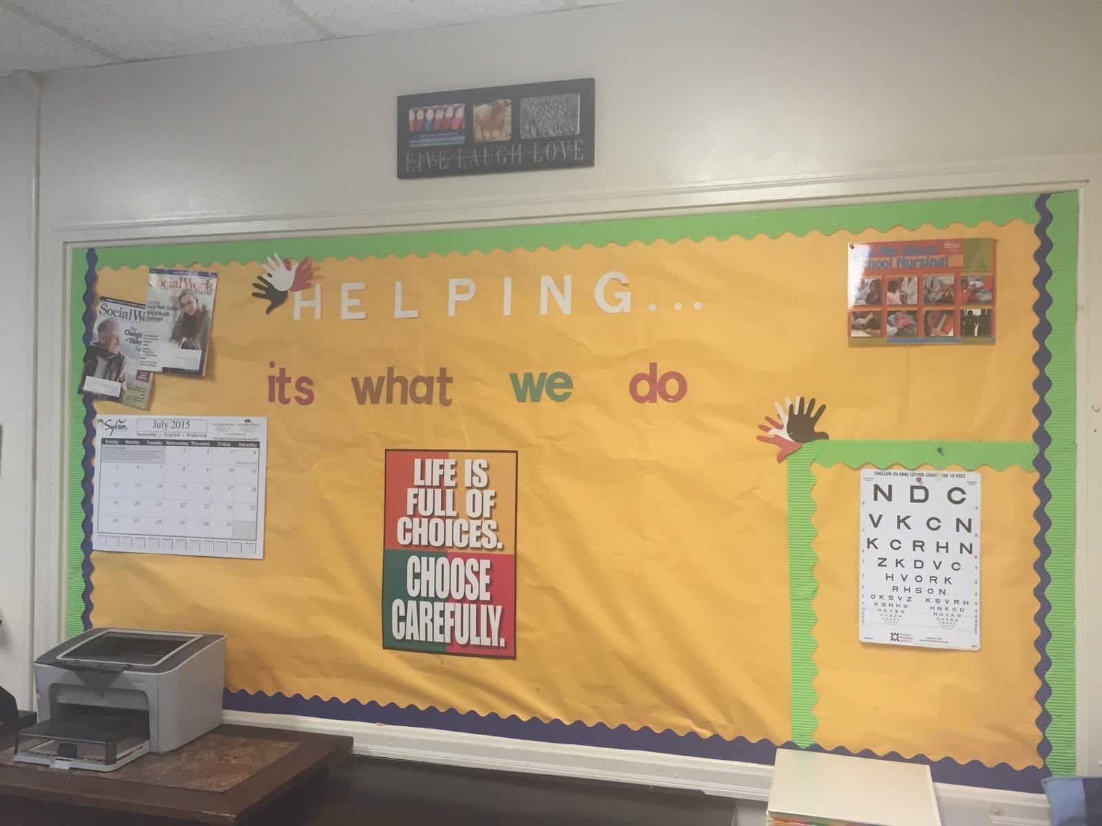 School Social Work Office Bulletin Board Decorated By Melanie Lee Of Grimsley High School North Carolina Social Work Offices School Social Work Social Work