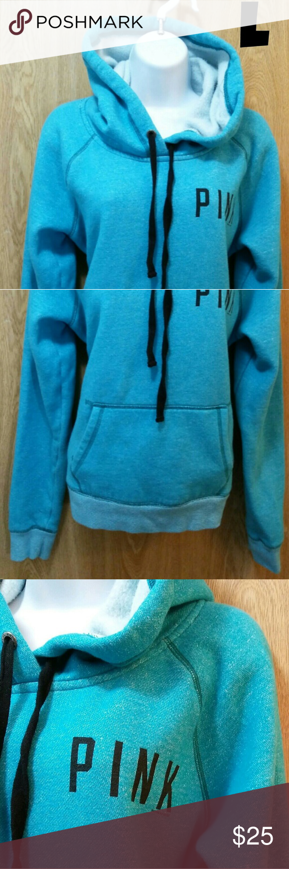 VS Pink - blue hoodie Features a kangaroo pocket. Great condition ...