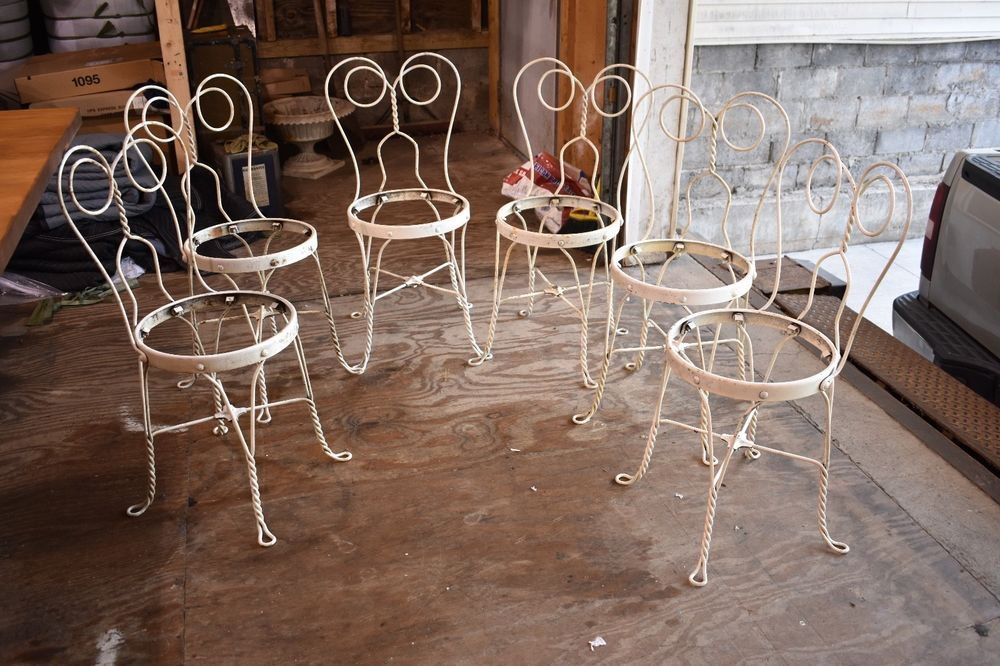 vintage set of 6 mid century modern metal ice cream parlor patio rh pinterest com