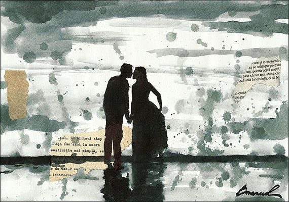 items similar to print art poster ink drawing sketch collage mixed media collage love people painting illustration gift couple autographed emanuel m