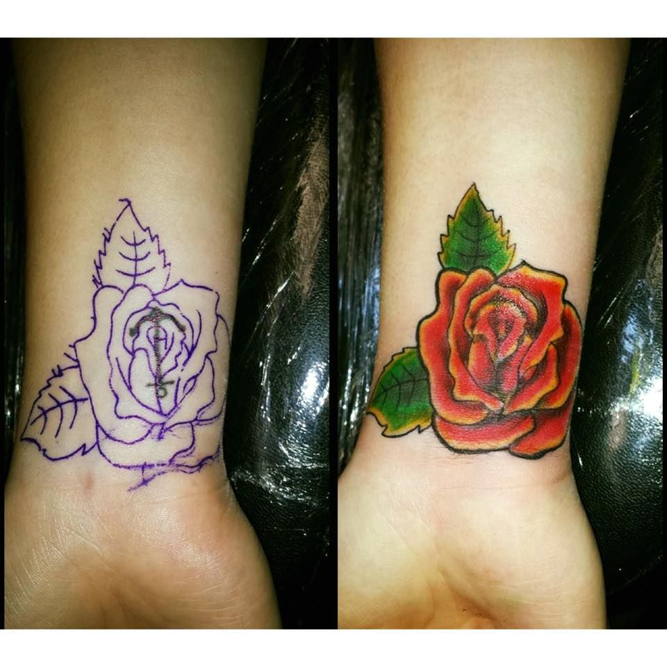 anchor, rose, red rose, flowers, wrist tattoo, girly ...