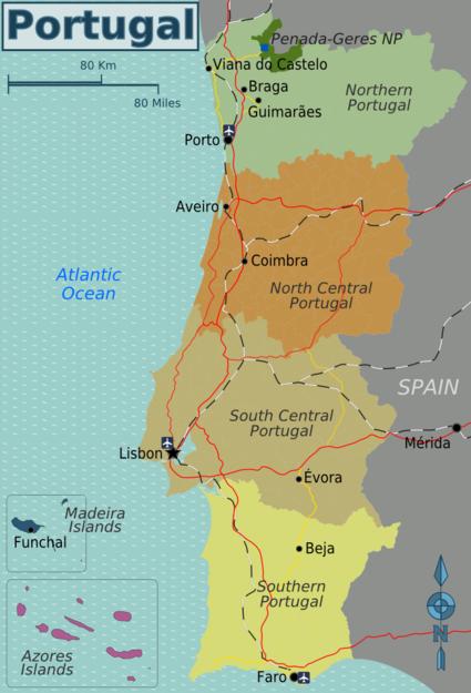 Cartina Geografica Algarve.Mappa Divisa Per Regioni Viaggio In Portogallo Portogallo Lisbona Portogallo
