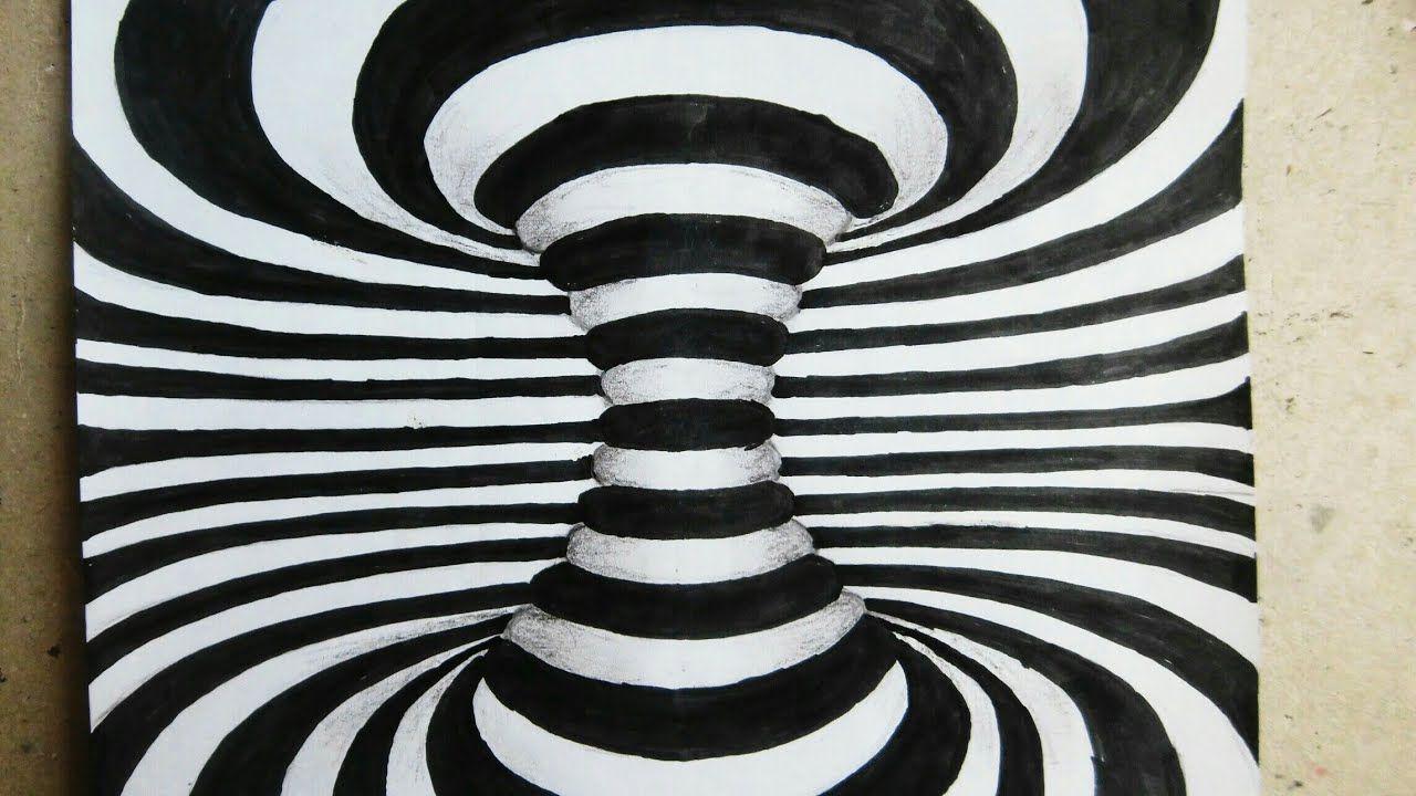 تعلم رسم 3d وهم بصرى خطوة بخطوة Draw 3d Illusion Visual Trick Abstract Artwork Abstract Artwork
