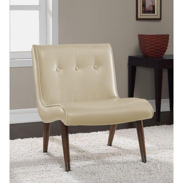 Mid Century Cream Bonded Armless Chair