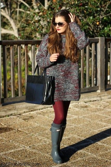 e71489cc58 Cozy knit dress and Hunter boots for winter style.  hunter  wellies   knitwear