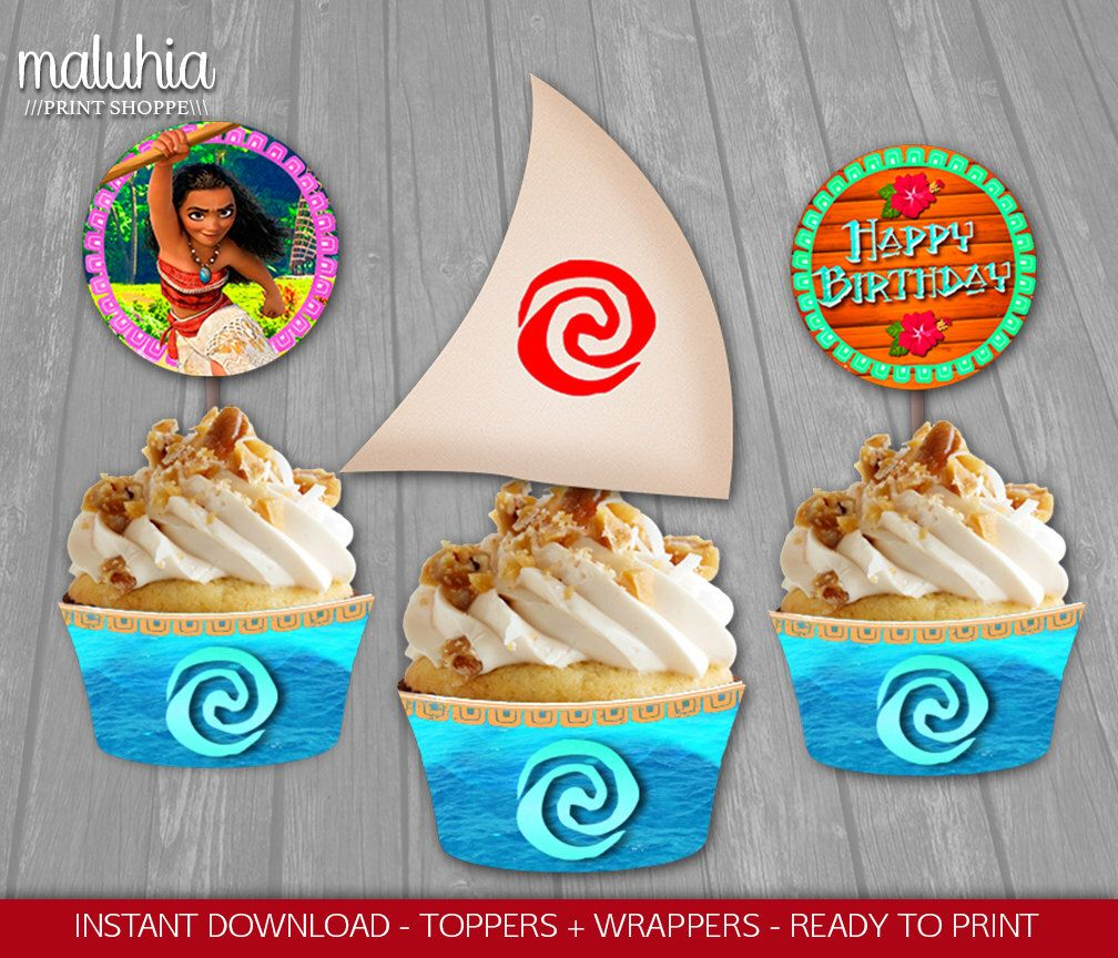 Moana Cupcake Topper - INSTANT DOWNLOAD - Disney Moana Toppers Wrappers Birthday Party - Moana Party Decoration - Disney Moana by MaluhiaPrints on Etsy https://www.etsy.com/listing/486930094/moana-cupcake-topper-instant-download