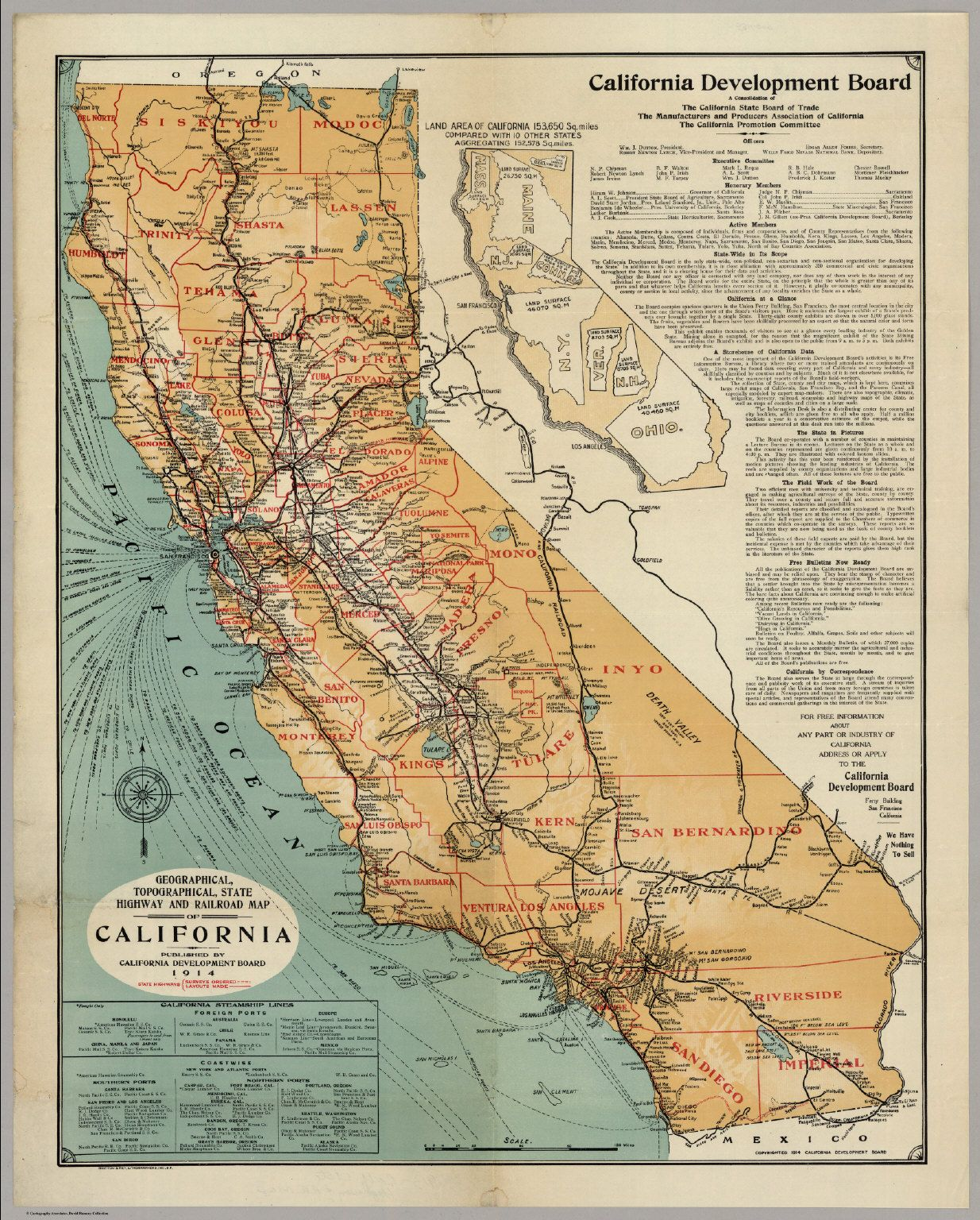 California Highway And Railroad Map David Rumsey Historical Map - Railway map usa 1890